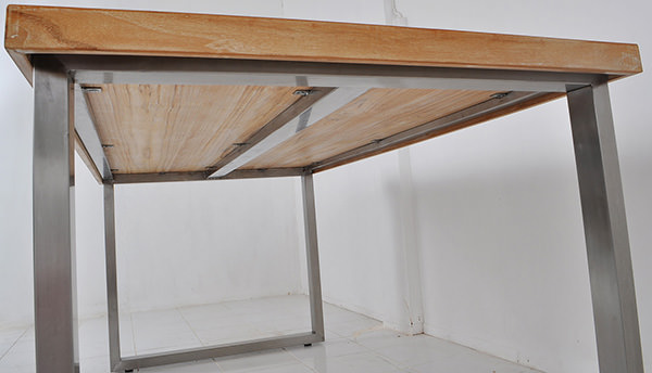 teak table top and stainless steel legs