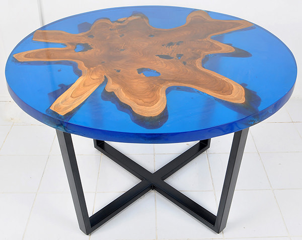 natural teak and blue resin round table with black iron legs