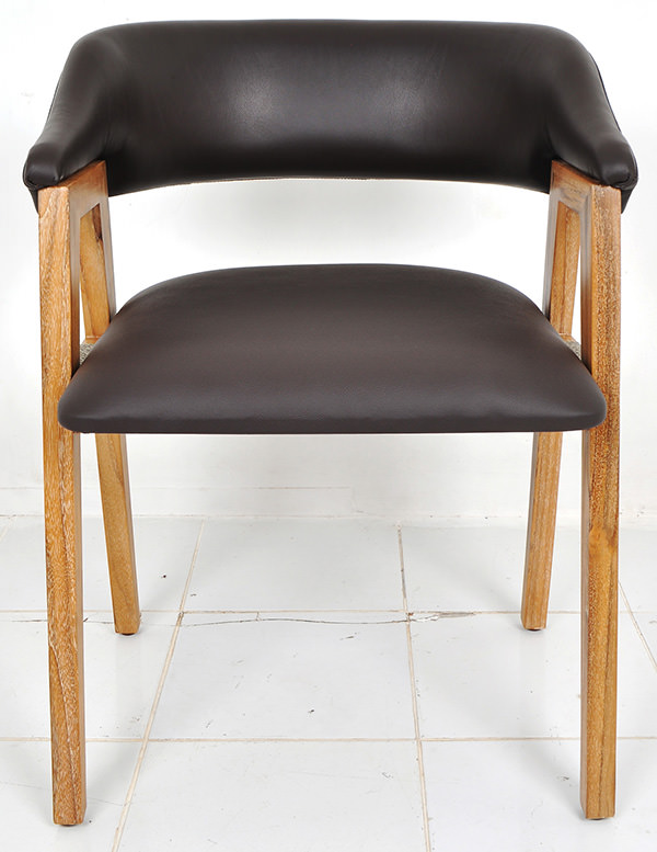 Scandinavian leather and teak dining chair