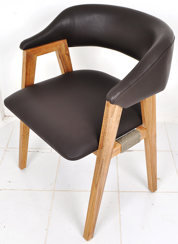 genuine leather and teak dining armchair