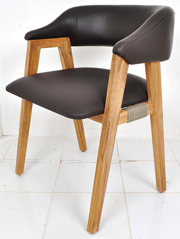 Scandinavian brown leather and teak dining chair