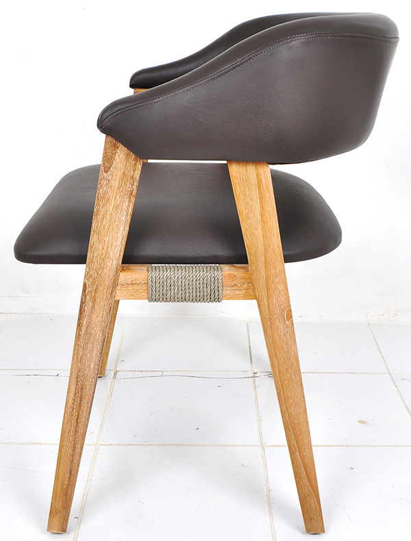 Scandinavian brown leather and natural smooth white washed teak dining chair