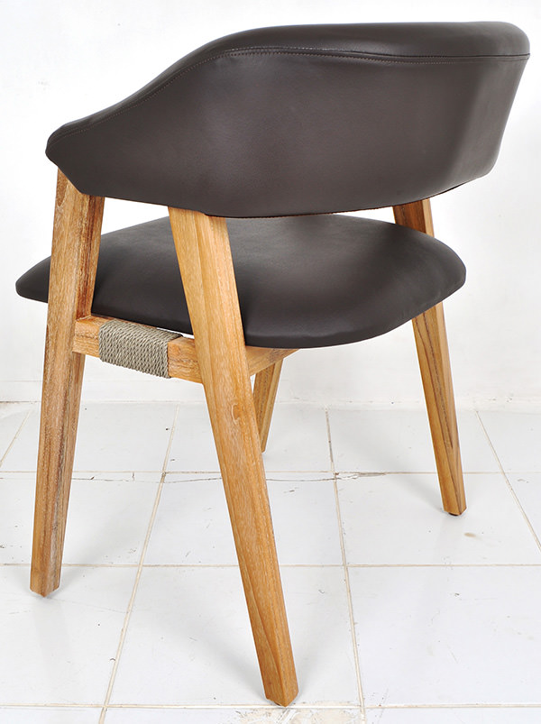 Scandinavian brown leather and natural smooth white washed teak dining chair with rope fitting
