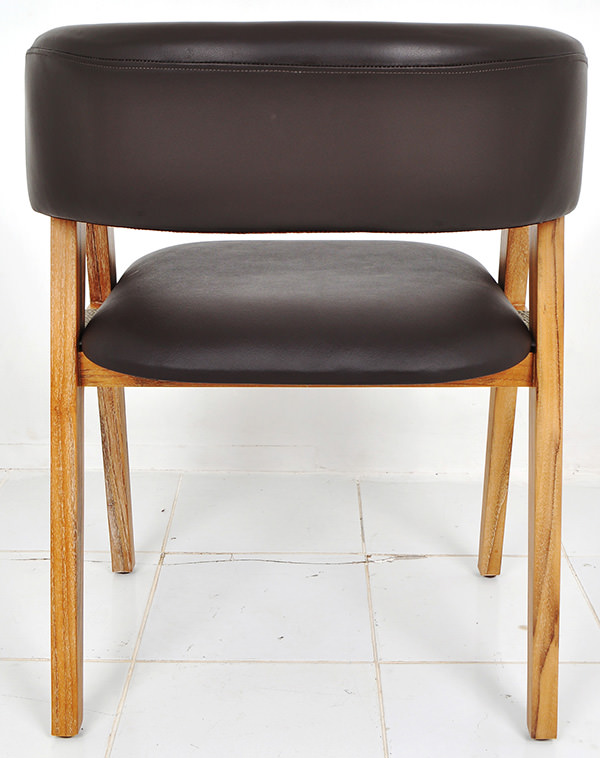 Scandinavian brown leather and natural smooth white washed teak dining chair for restaurant