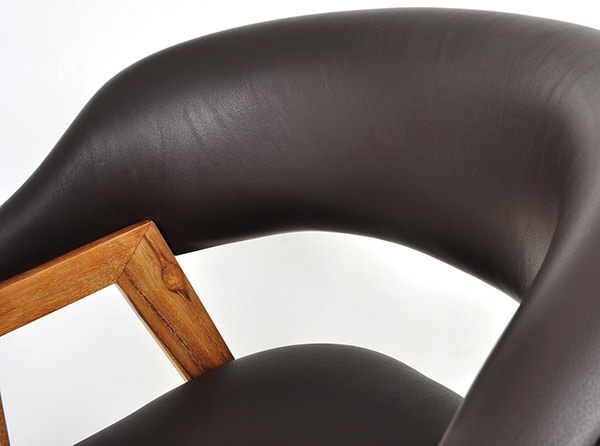Miami restaurant leather and teak chair