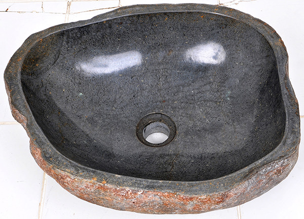 polished riverstone sink