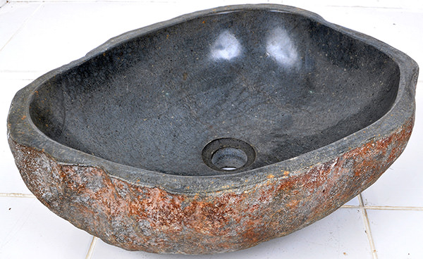polished river stone sink