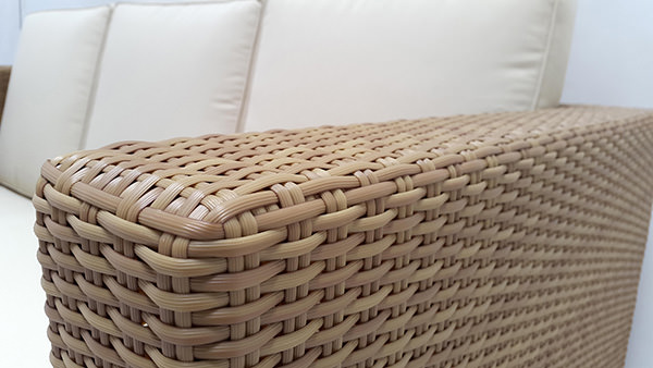 outdoor wicker sofa with cushions