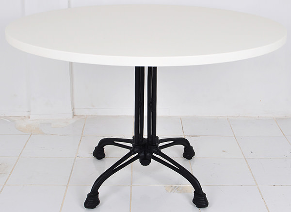 round bistro table with cast iron table legs