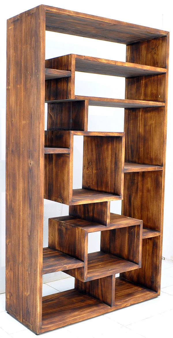 hong kong teak book rack with yakisugi finish