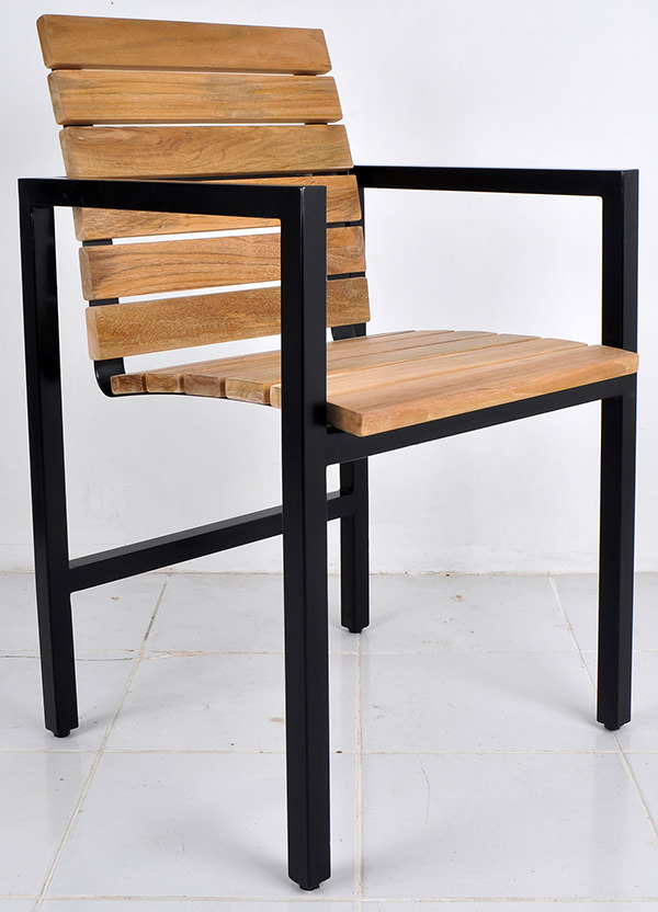 square black iron and natural teak chair