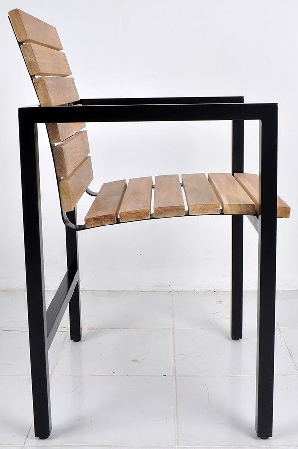 teak wood and black iron garden seat