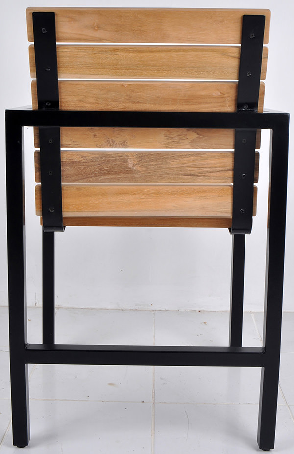 teak wood and black iron garden seat with square legs