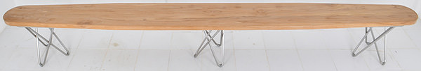 Scandinavian teak and stainless dining table