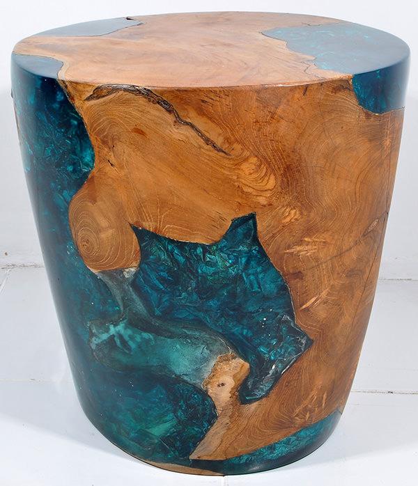 teak root and resin stool