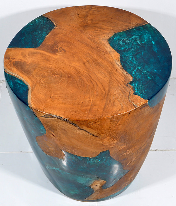 teak root and resin round stool