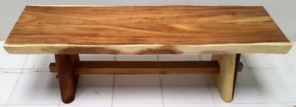 suar wooden table with foot rest and natural color and edges