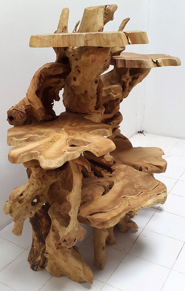 Solid Wooden Roots Furniture With Organic Natural Shapes