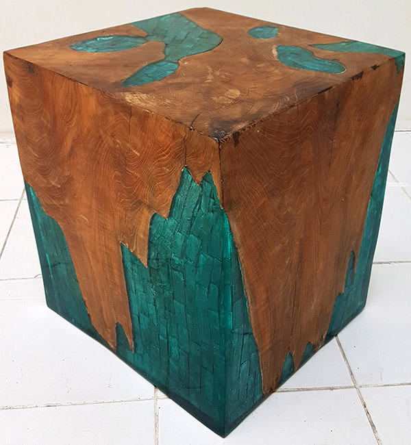 square solid wooden stool