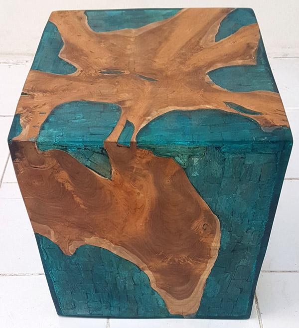 square solid teak wood stool