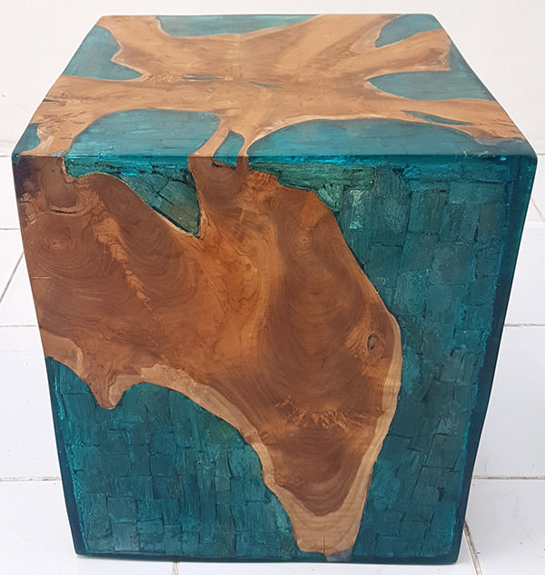 square solid teak and blue resin with drift wood inserts