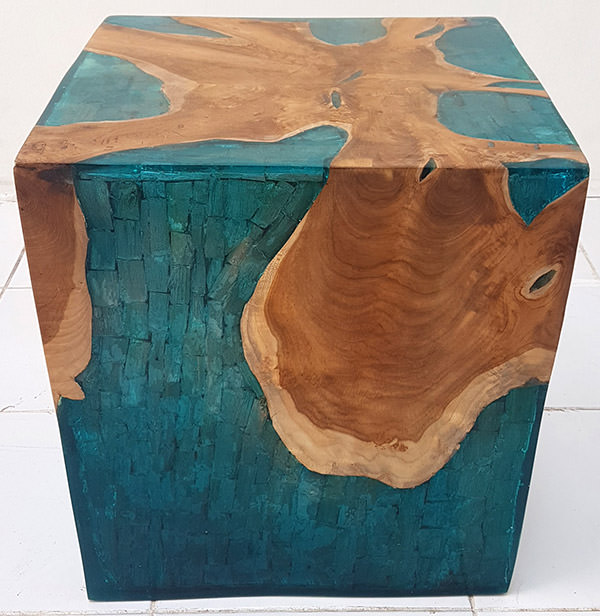 square square solid teak and blue resin with drift wood inserts with glossy finish