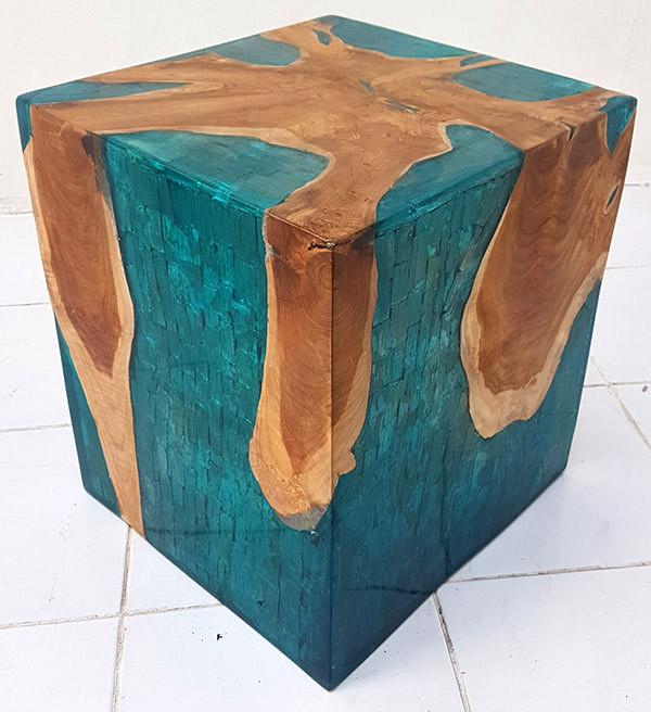 teak and resin stool