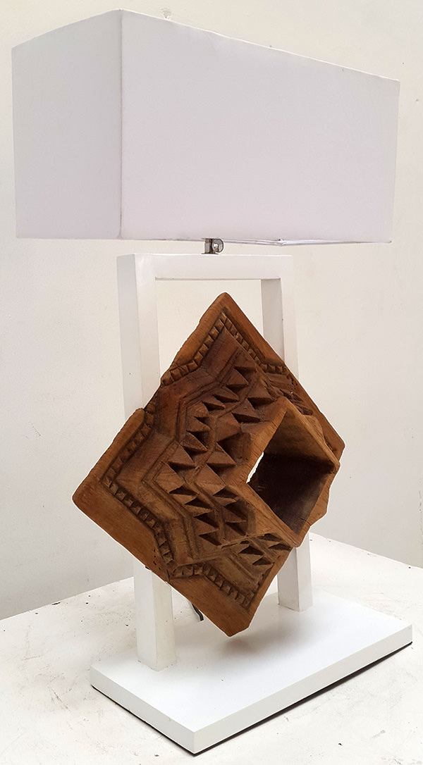 square recycled teak standing night lamp