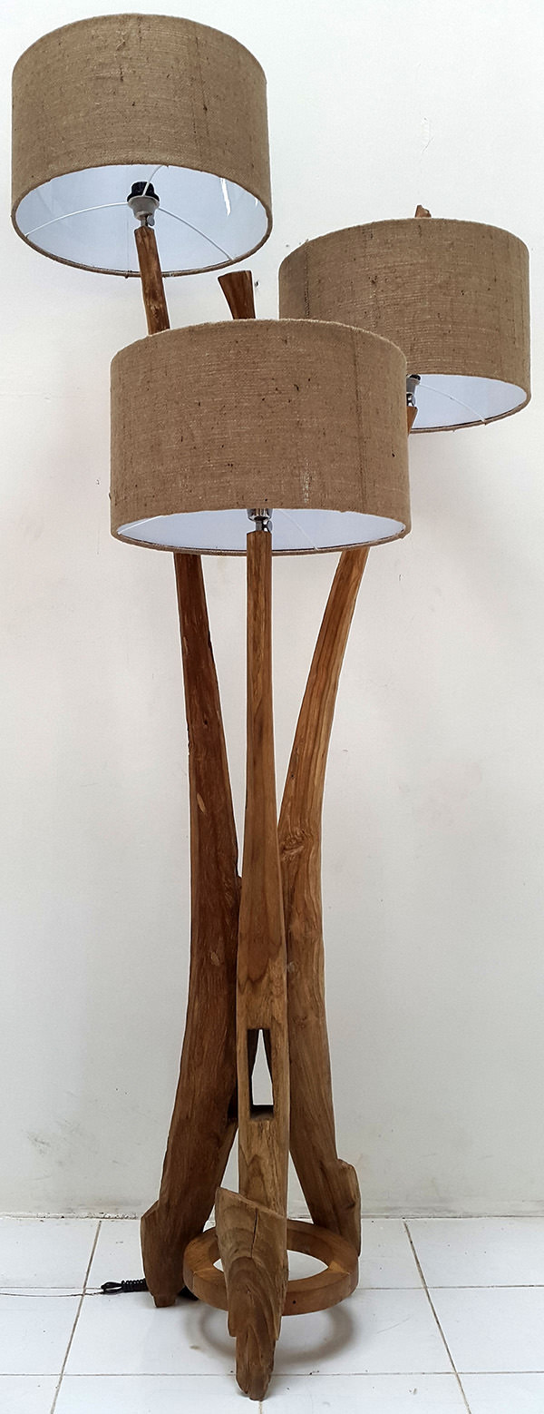 teak standing lamp with 3 shades