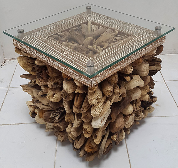 floating wood and glass top coffee table