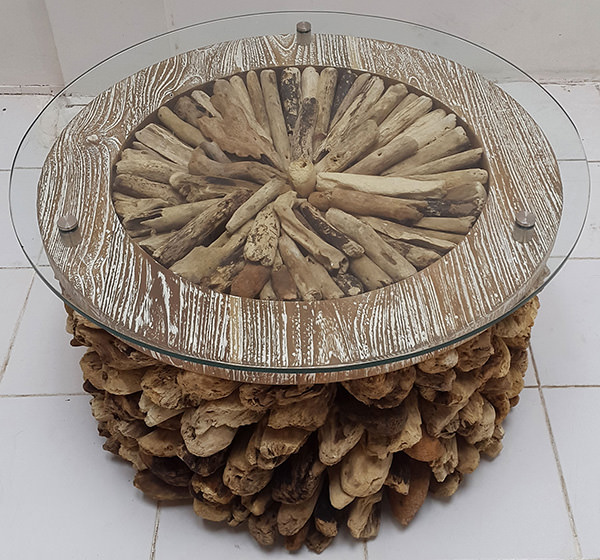 floating wood and glass top round coffee table