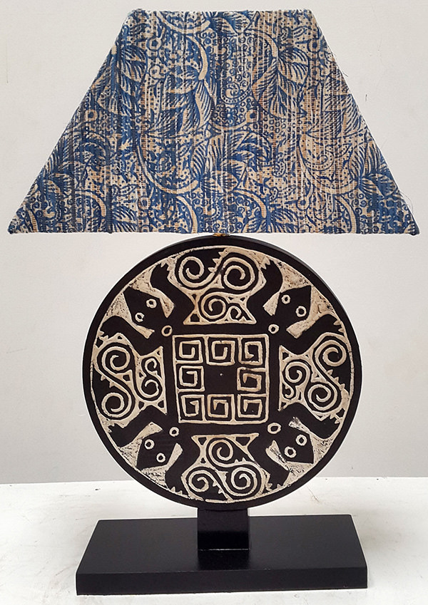 Indonesian ethnic traditional night lamp with blue batik shade