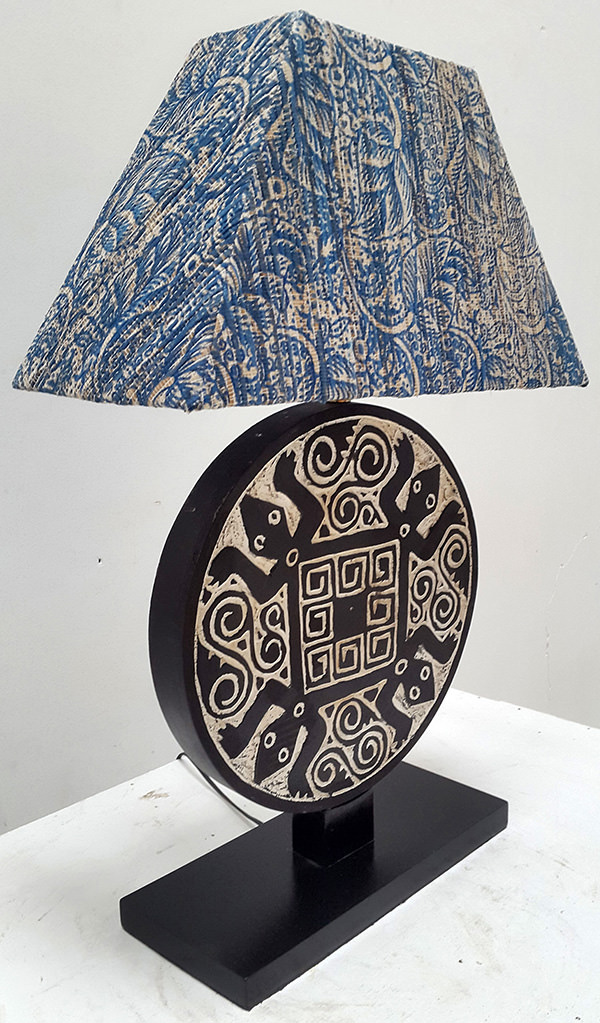 papuan night lamp with geometric pattern
