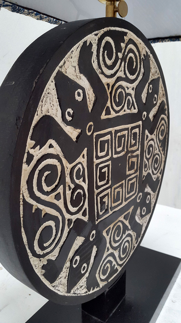 papuan night lamp with ethnic geometric pattern