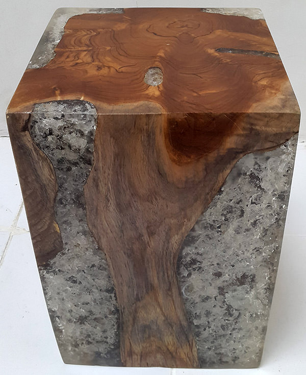 teak stool and resin with broken inserts