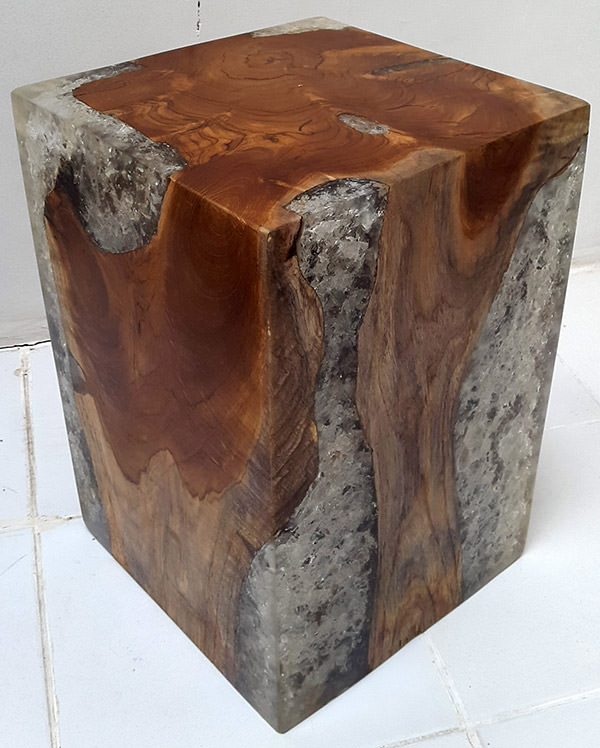 square teak stool and resin with broken inserts