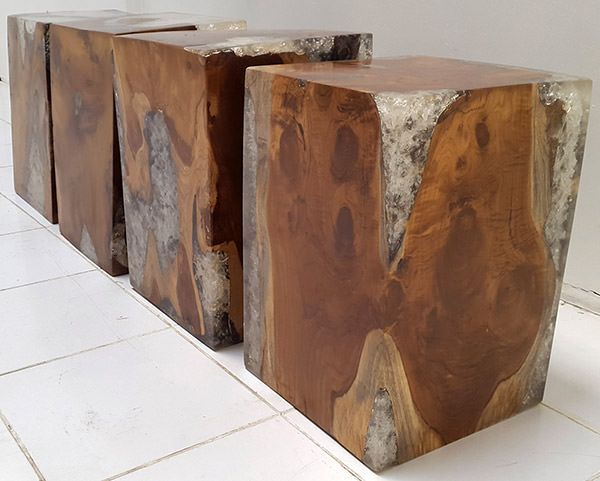 solid teak and resin stools