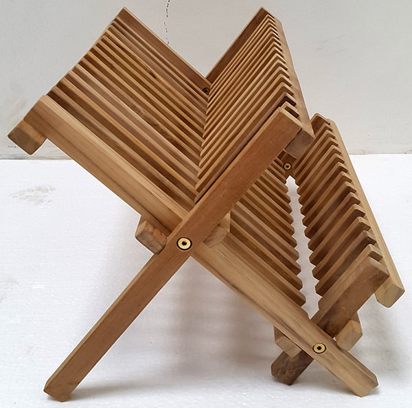 teak drying rack with a natural color