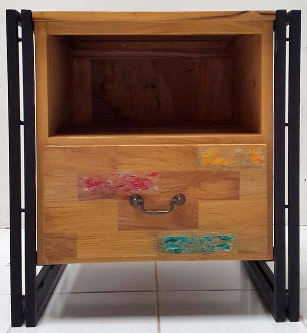 black iron and teak wood cabinet with boat wood finish