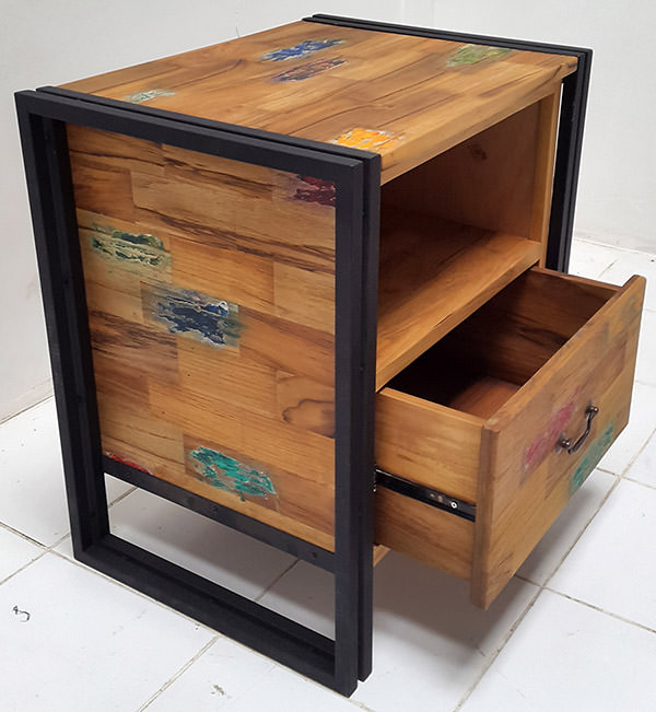 square black iron and teak wood cabinet with boat wood finish with one drawer