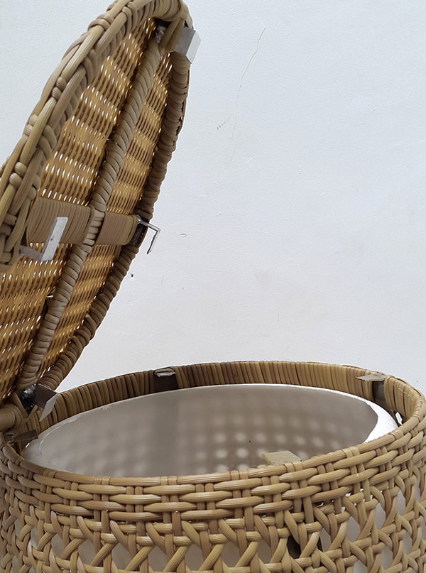 synthetic rattan and fiber lamp