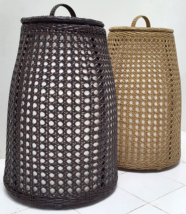 standing synthetic rattan and fiber garden lamps