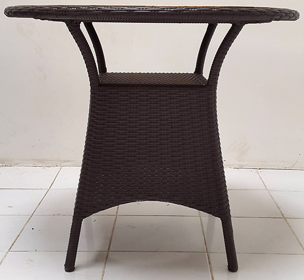 black synthetic rattan table