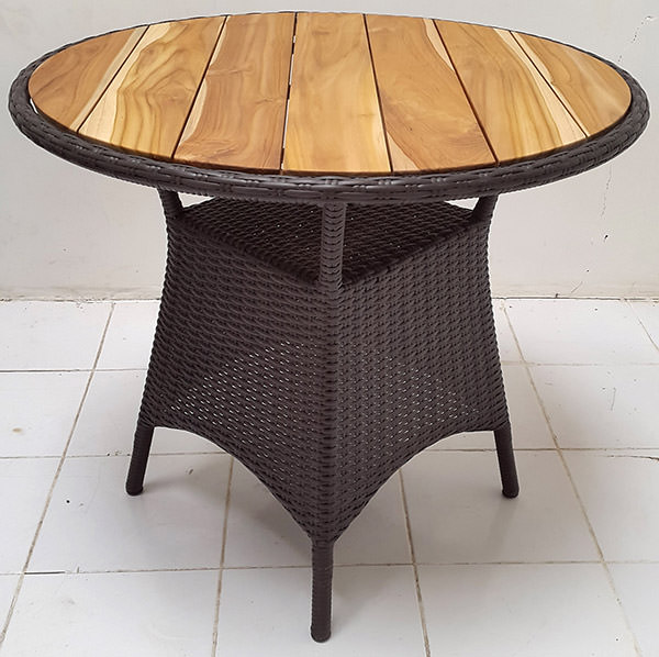 black synthetic rattan table with natural teak top