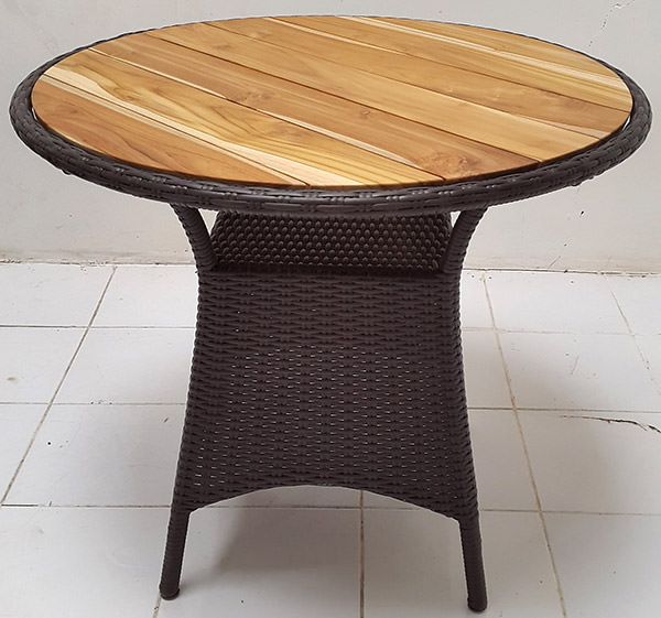 black synthetic rattan garden table with natural teak top