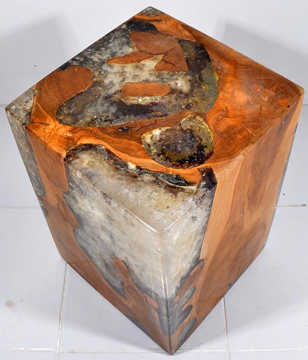 teak root and transparent resin square stool
