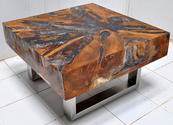 thick coffee table from solid teak wood with grey resin