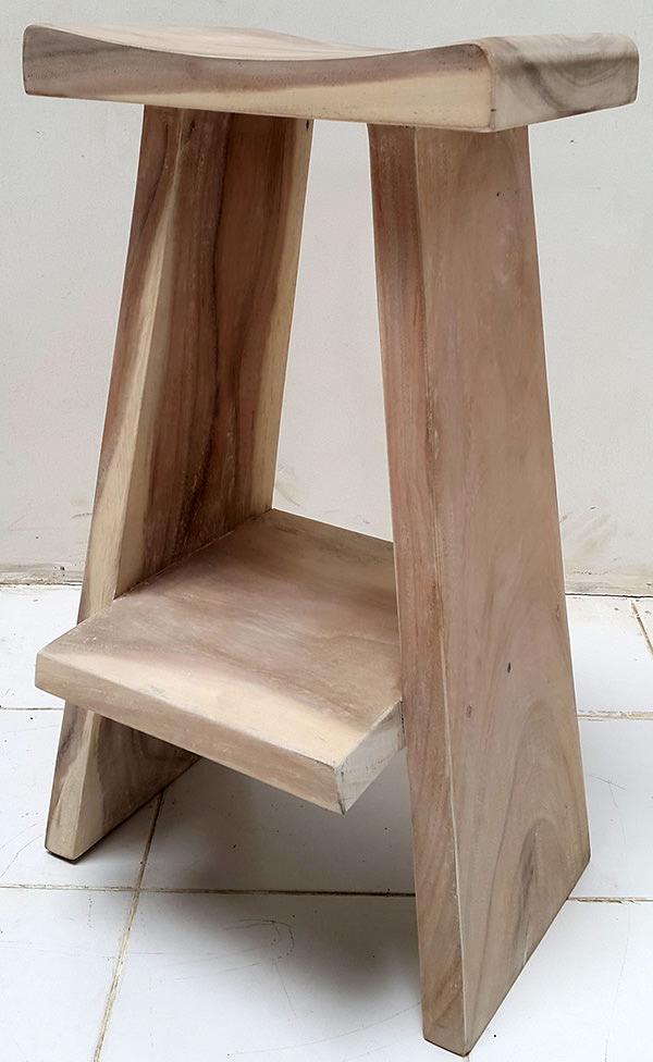 suar stool with white washed finish
