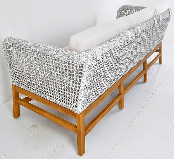 Solid teak and rope loom couch