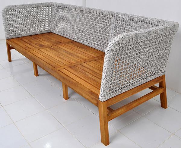 Solid teak and rope loom sofa